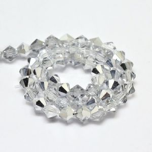 Silver Half Plated Grade AA 4mm Faceted Glass Bicone